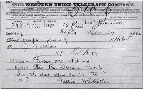 Western Union Telegram sent by Nellie Abbe about her father - Charles Murder