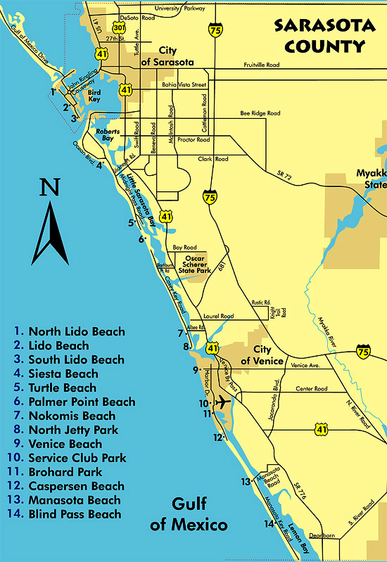 Map Of Florida Sarasota.Sarasota Florida County Beaches Map Siesta Key Vacation