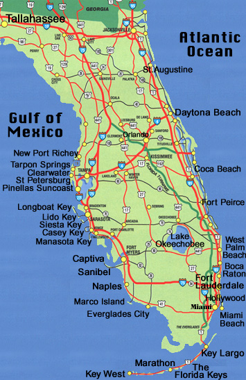 Florida Map And Driving Directions Information For Siesta Key Florida - Map of florida west coast